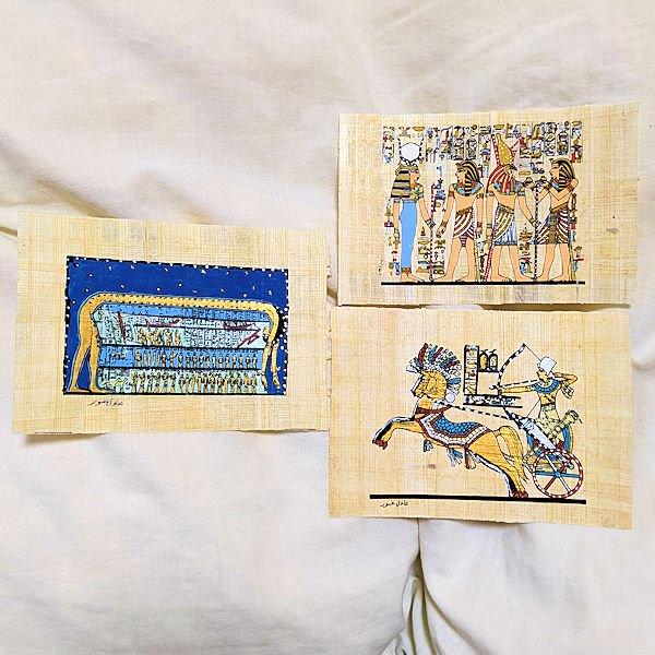 パピルス紙絵画3枚セットK 天空の女神ヌト・ハトホルとホルス・ラムセス二世