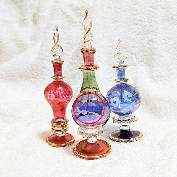 【B品ラッピング不可】エジプト製オリエンタル香水瓶3本セットF